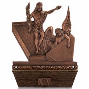 Vía Crucis: Vía Crucis bronce cobrizo 15 estaciones base madera