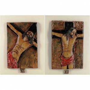 Via Crucis 14 stazioni maiolica cuoio su legno avorio s7