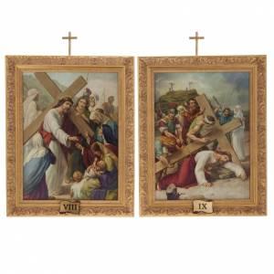 Via Crucis quadri legno tipo pittura 15 stazioni s13