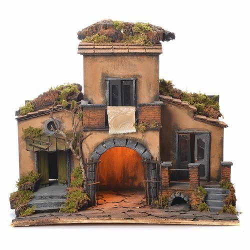 Village crèche napolitaine style 1700 avec portail 48x55x35 cm s1