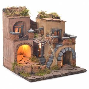 Village crèche style 1700 avec four 40x65x40 cm s2