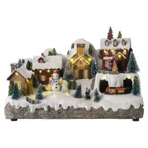 Villages de Noël miniatures: Village de Noël avec bonhomme de neige en mouvement 25x35x15 cm