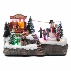 Villages de Noël miniatures: Village de Noël ronde bonhomme neige 25x15x15 cm
