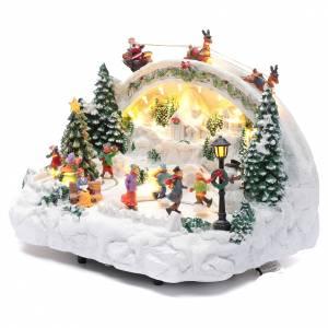 Villaggio natalizio bianco luminoso musica movim pattinatori albero natale 24X33X21 cm s2