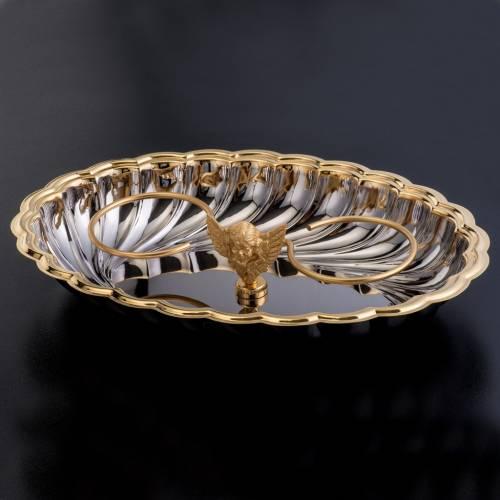 Vinajeras cristal base niquelada dorada angelito s4