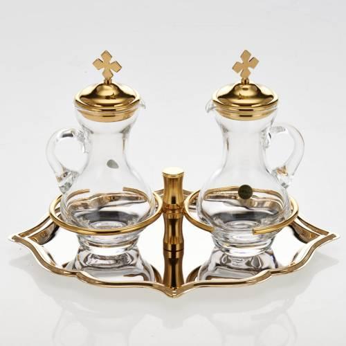 Vinajeras cristal plato dorado niquelado s2