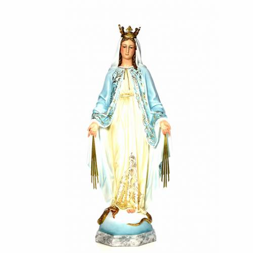 Virgin of the miracle medal wood paste 120cm, fine finish s1