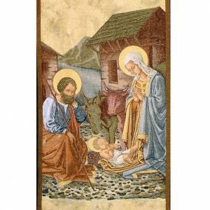 Voiles de lutrin: Voile d'ambon nativité avec cabane fond or maculé