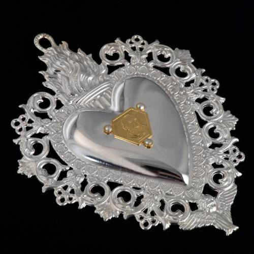 Votive heart with Padre Pio 9.5x7.5cm s4
