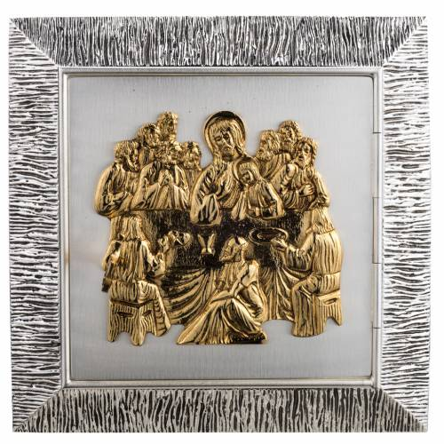Wall Tabernacle with Last Supper in wood and cast brass s1