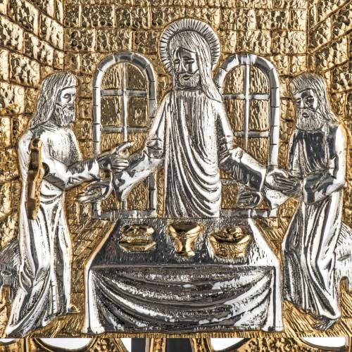 Wall Tabernacle with Supper at Emmaus in gold-plated cast brass s2