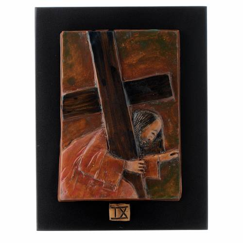 Way of the Cross in majolica backed with dark wood, 14 stations s9