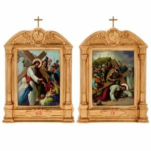 Way of the Cross in wood decorated with columns, 15 stations s11