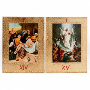 Way of the Cross: Way of the Cross printed on wood framed in gold, 15 stations