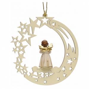 Christbaumschmuck aus Holz und PVC: Weihnachtsschmuck Engel mit Glocke aus Holz