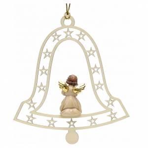 Christbaumschmuck aus Holz und PVC: Weihnachtsschmuck Glocke mit Betende Engel aus Holz