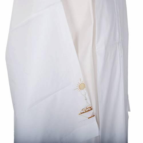 White alb cotton chalice and bread s3