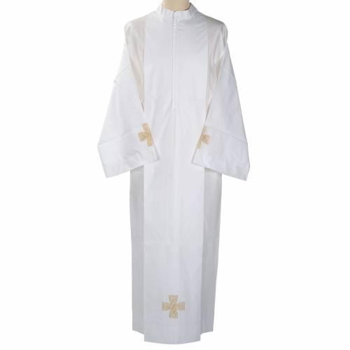 White alb cotton gold cross s1