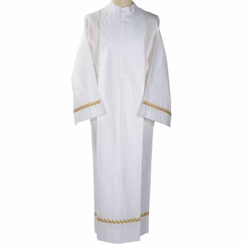 White alb wool gold embroidery s1