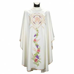 Chasubles: White chasuble with IHS, grapes and ears of wheat