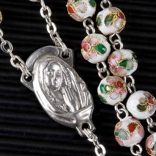 White cloisonné rosary s2