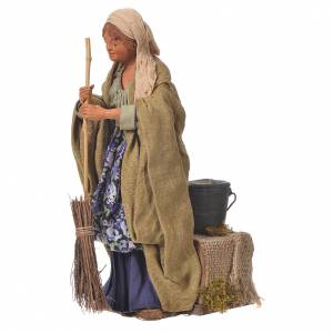 Woman sweeping, 24cm Animated Neapolitan nativity s3