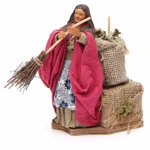 Woman sweeping, animated Neapolitan Nativity figurine 14cm s2
