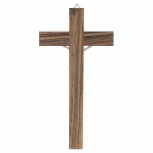 Wood crucifix with mother of pearl effect inlay s4