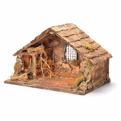 Wooden and straw cabin, Neapolitan Nativity 26x40x29cm s3