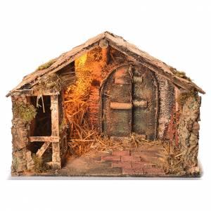 Wooden and straw cabin, Neapolitan Nativity 36x51x29cm s1