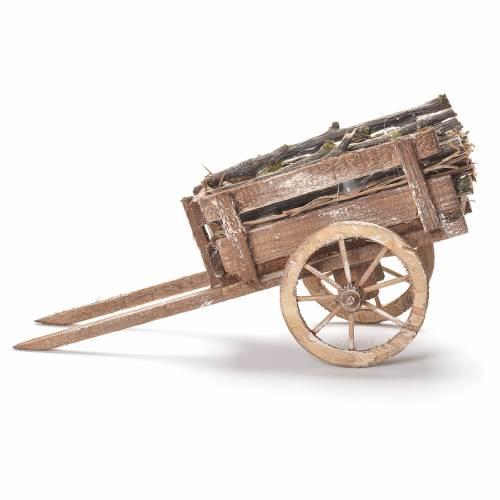 Wooden cart, Neapolitan Nativity 12x20x8cm s2
