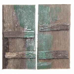 Balustrade, doors, railings: Wooden door for DIY nativities, rectangular 8.5x4.5, set of 2