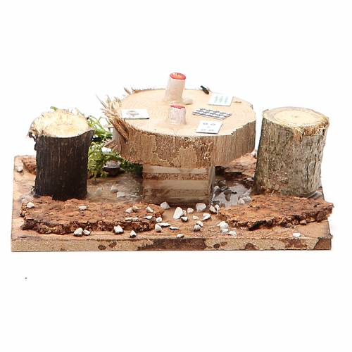 Wooden table with base for nativities measuring 2.5x9x9cm, assorted models s2