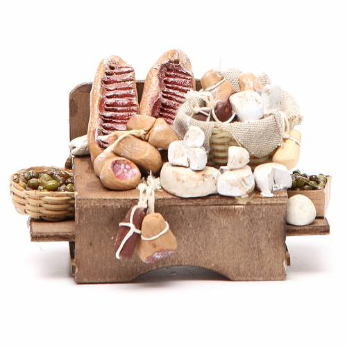 Work bench olives cheeses and cured meats 9x12x6cm neapolitan Nativity s1