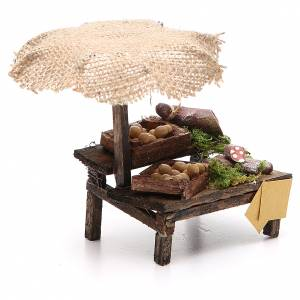 Workshop nativity with beach umbrella, cured meats 12x10x12cm s3