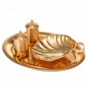 Oleje święte i akcesoria do chrztu: Zestaw naczyń do chrztu złoty satynowany