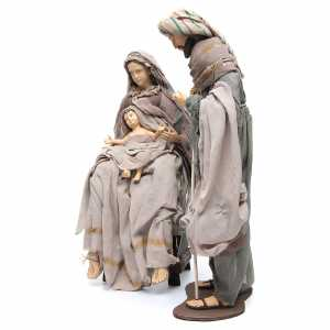 Nativity sets: Holy Family 75cm in resin and brown fabric with chair