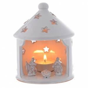 Presepe Terracotta Deruta: Capanna lume bianca traforata di Natale terracotta 13 cm