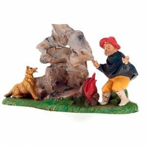 Nativity set accessory, Shepherd next to tthe fire with dog 13cm s2