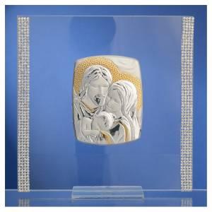 Regalos y Recuerdos: Cuadro Matrimonio  S.familia plata y lentejuealas 17,5x17,5 cm