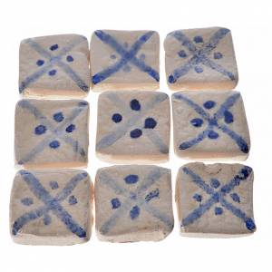Azulejos de terracota esmaltada lineas azul, 60pz s1