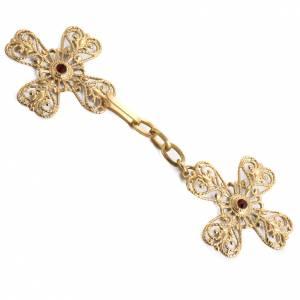 Chapes, Chasubles Romaines, Dalmatiques: Accroches pour chape en laiton doré croix pierres