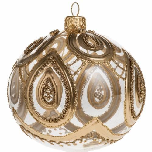 Addobbo albero Natale vetro soffiato trasparente oro 10 cm s1