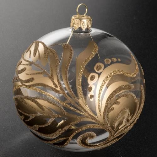 Addobbo albero vetro trasparente decorazioni oro 10 cm s2
