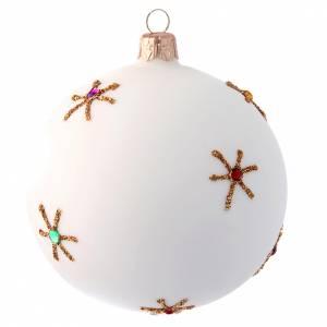 Adorno árbol de Navidad 100 mm blanco y decoupage s2