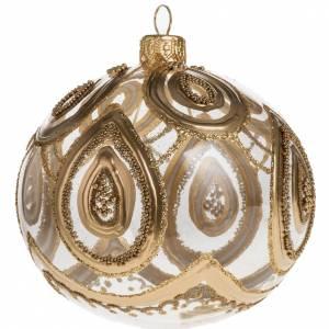 Adorno árbol de Navidad vidrio soplado transparente dorad s1