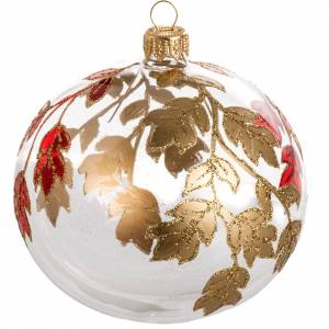 Adorno árbol, decorado en rojo dorado escarcha 10cm s1