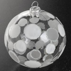 Bolas de Navidad: Adorno árbol vidrio soplado transparente blanco 8 cm.