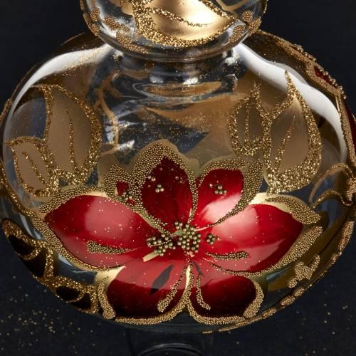 Adorno navidad en forma punta, vidrio decorado dorado y rojo s3