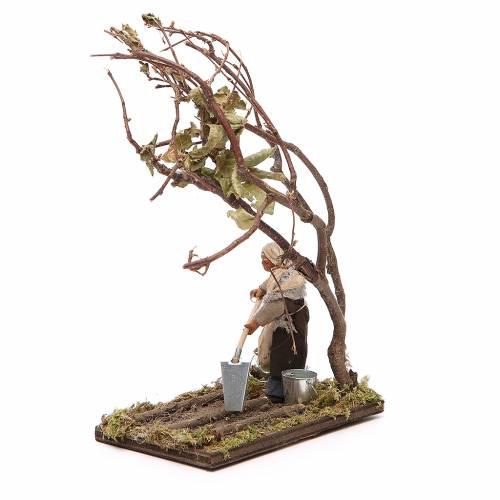 Agricoltore con albero 10 cm presepe napoletano s2